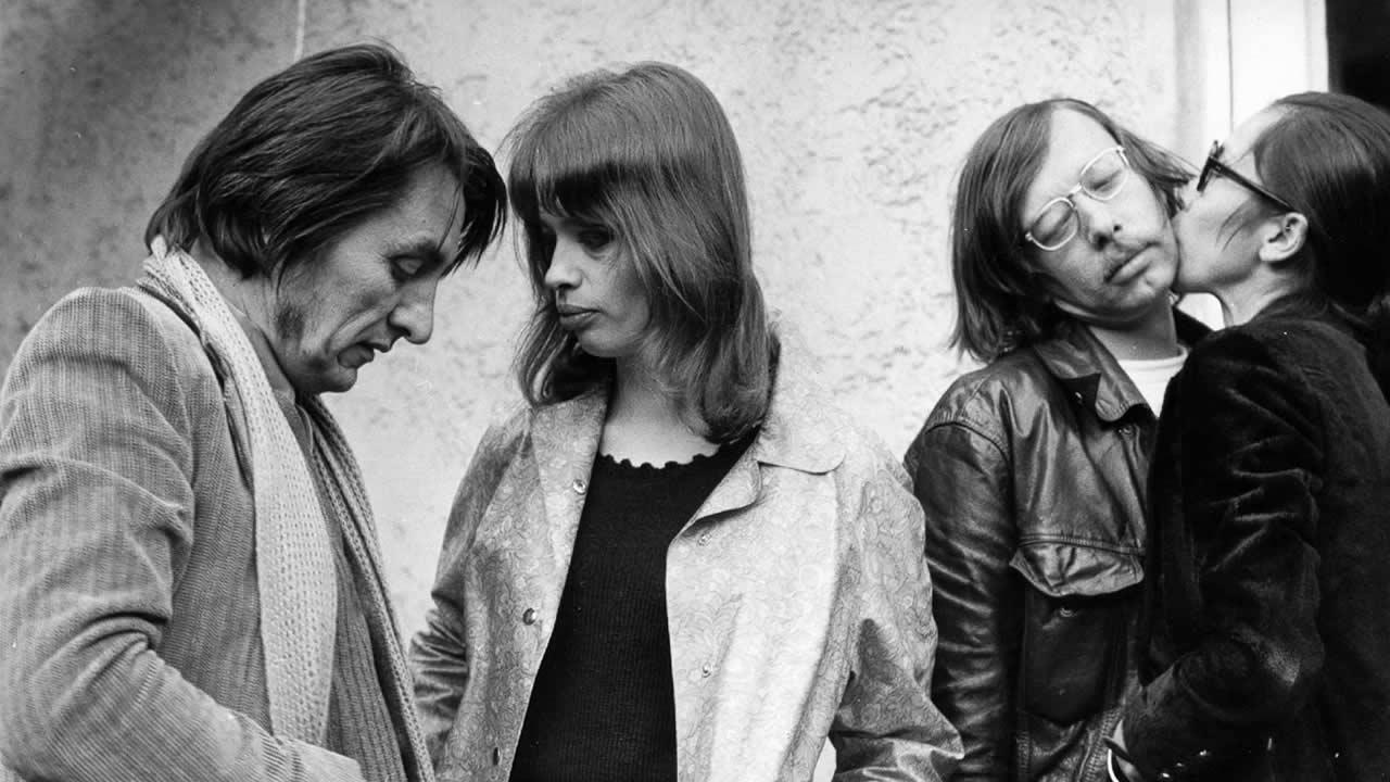 1968 - (v.l.n.r) Vlado Kristl (Regie DER BRIEF) mit Begleitung, Hark Bohm mit Natalia Bowakov
