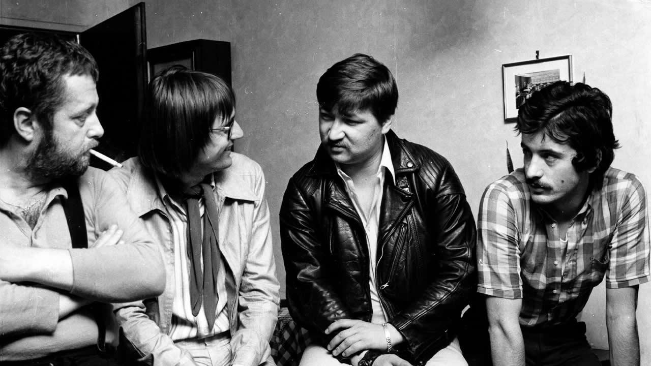 1971 - Im Filmtage-Büro: (v.l.n.r.) Volker Vogeler, Heinz Badewitz, Rainer Werner Fassbinder und Harry Baer