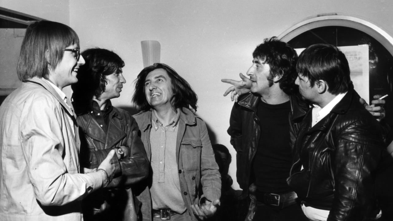 1971 - Gespräch im Foyer des Central Theaters: (v.l.n.r.) Heinz Badewitz, Kurt Rosenthal, Vlado Kristl, Daniel Schmid, Rainer Werner Fassbinder