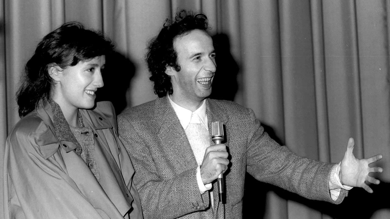 1986 - Nicoletta Braschi and Roberto Benigni after the premiere of Jim Jarmusch's DOWN BY LAW