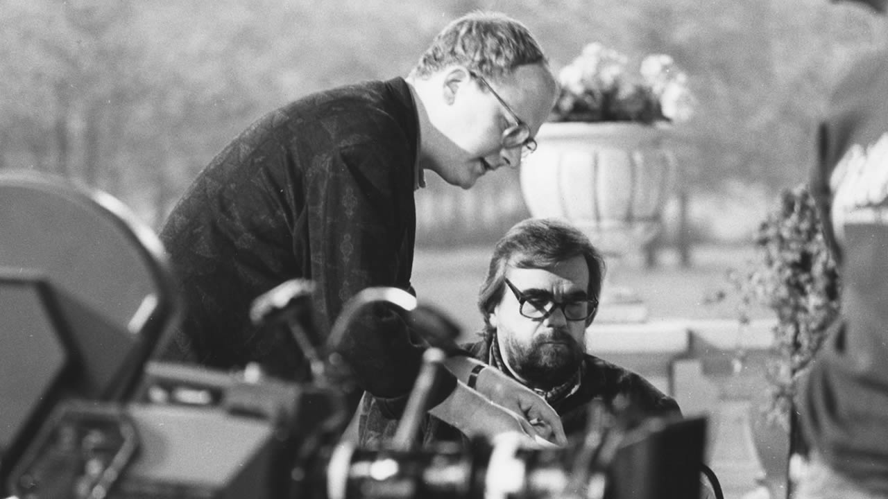 1987 - H.C. Blumenberg and Michael Londsdale on the set of DER MADONNA MANN