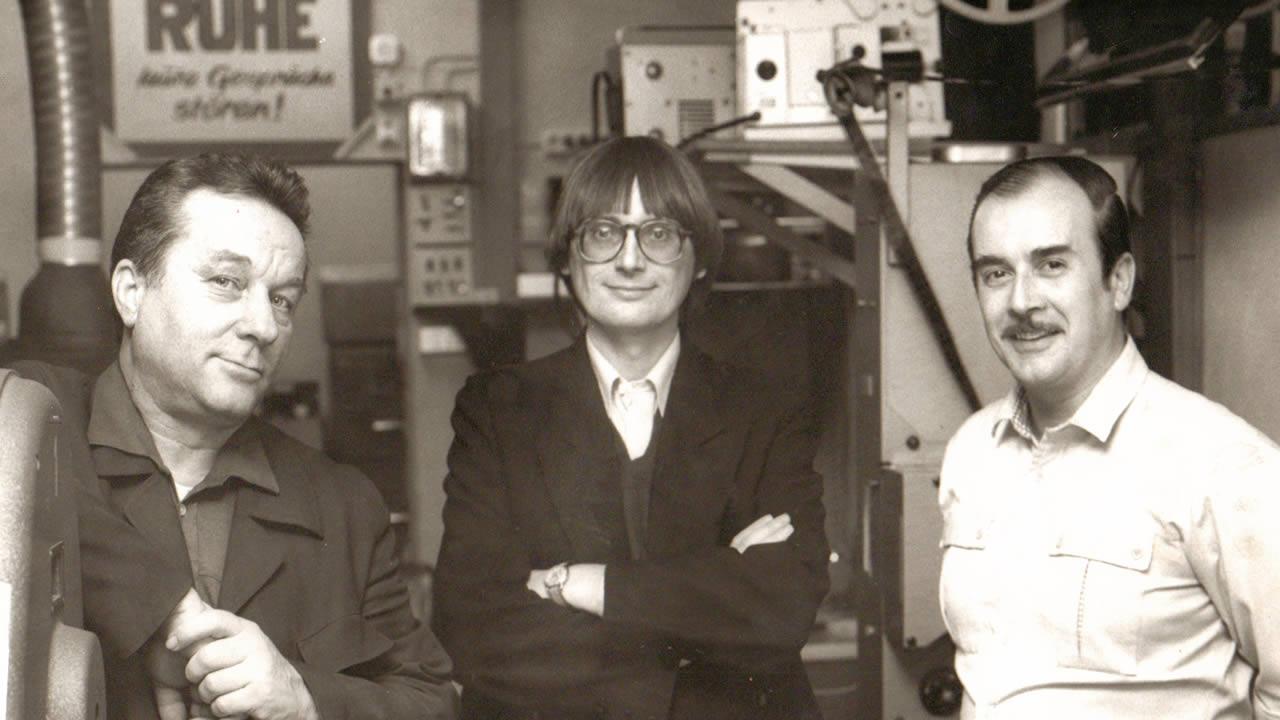 1991 - Heinz Badewitz mit Filmtage-Technik-Chef Kurt Haschke (links) und Filmvorführer Bernd Kläber