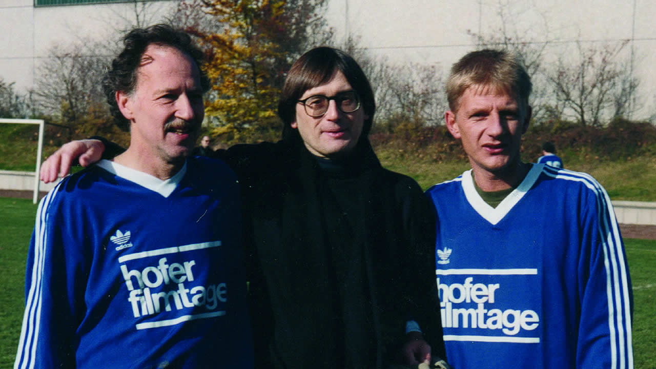1993 – At the traditional soccer match: Heinz Badewitz with Werner Herzog and Sönke Wortmann