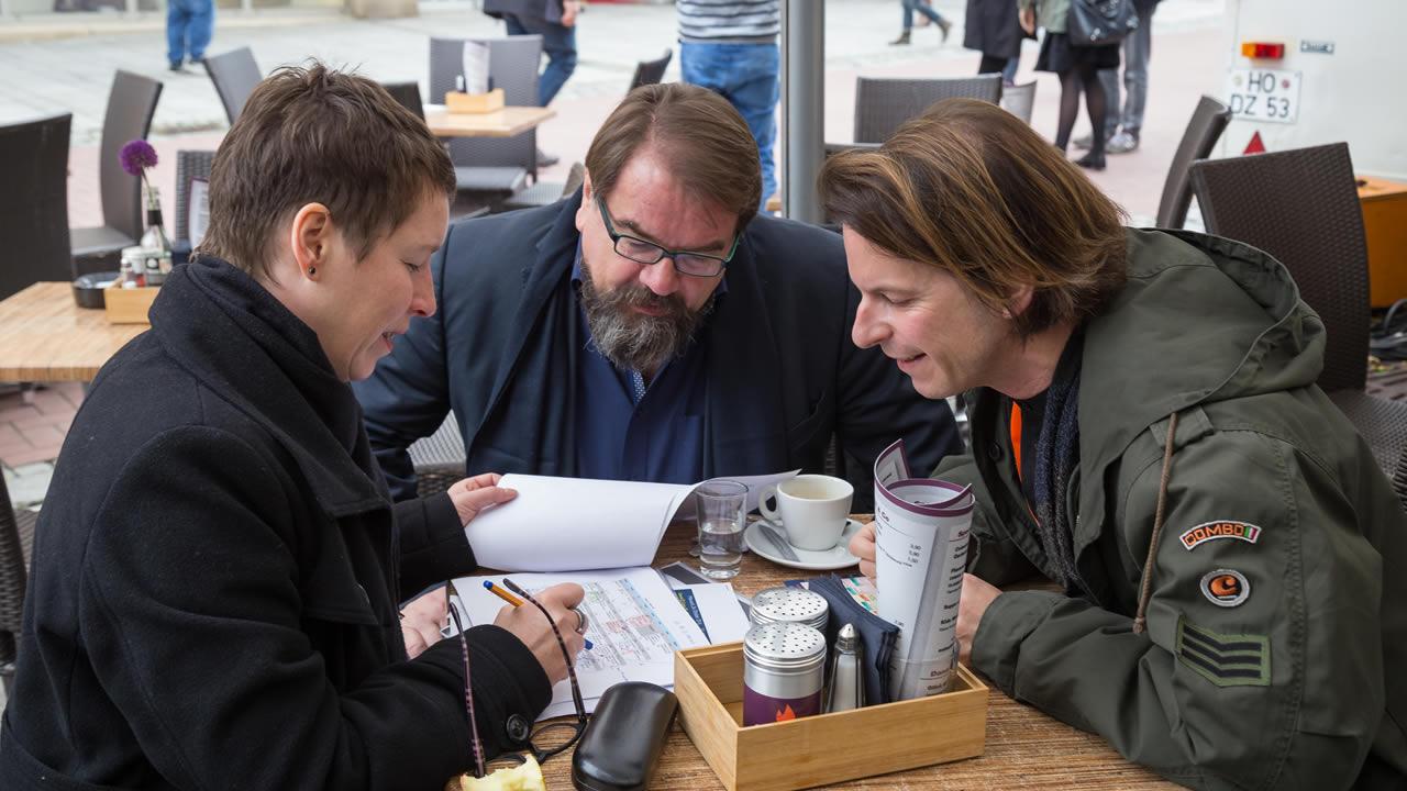 2016 - Das Kuratorium der 50. Internationalen Hofer Filmtage (von links): Linda Söfker, Alfred Holighaus und Thorsten Schaumann